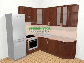 Угловая кухня МДФ матовый в классическом стиле 6,7 м², 210 на 230 см, Вишня темная, верхние модули 92 см, встроенный духовой шкаф, холодильник