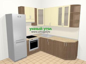 Угловая кухня МДФ матовый в современном стиле 6,7 м², 210 на 230 см, Ваниль / Лиственница бронзовая, верхние модули 92 см, встроенный духовой шкаф, холодильник
