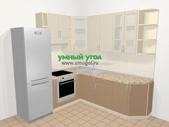 Угловая кухня МДФ матовый в современном стиле 6,7 м², 210 на 230 см, Керамик / Кофе, верхние модули 92 см, встроенный духовой шкаф, холодильник