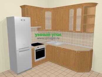 Угловая кухня МДФ матовый в стиле кантри 6,7 м², 210 на 230 см, Ольха, верхние модули 92 см, встроенный духовой шкаф, холодильник