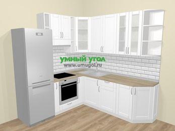 Угловая кухня МДФ матовый  в скандинавском стиле 6,7 м², 210 на 230 см, Белый, верхние модули 92 см, встроенный духовой шкаф, холодильник