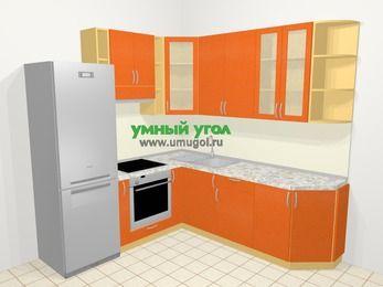 Угловая кухня МДФ металлик в современном стиле 6,7 м², 210 на 230 см, Оранжевый металлик, верхние модули 92 см, встроенный духовой шкаф, холодильник