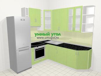 Угловая кухня МДФ металлик в современном стиле 6,7 м², 210 на 230 см, Салатовый металлик, верхние модули 92 см, встроенный духовой шкаф, холодильник