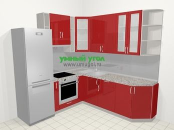 Угловая кухня МДФ глянец в современном стиле 6,7 м², 210 на 230 см, Красный, верхние модули 92 см, встроенный духовой шкаф, холодильник