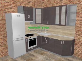 Угловая кухня МДФ глянец в стиле лофт 6,7 м², 210 на 230 см, Шоколад, верхние модули 92 см, встроенный духовой шкаф, холодильник