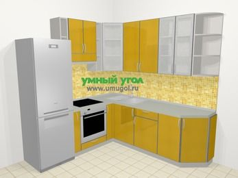 Кухни пластиковые угловые в современном стиле 6,7 м², 210 на 230 см, Желтый глянец, верхние модули 92 см, встроенный духовой шкаф, холодильник