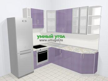 Кухни пластиковые угловые в современном стиле 6,7 м², 210 на 230 см, Сиреневый глянец, верхние модули 92 см, встроенный духовой шкаф, холодильник