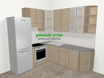 Кухни пластиковые угловые в стиле лофт 6,7 м², 210 на 230 см, Чибли бежевый, верхние модули 92 см, встроенный духовой шкаф, холодильник