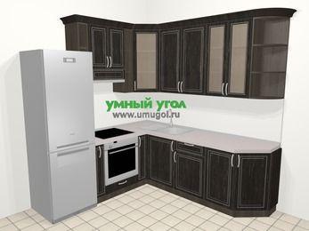 Угловая кухня МДФ патина в классическом стиле 6,7 м², 210 на 230 см, Венге, верхние модули 92 см, встроенный духовой шкаф, холодильник