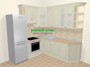 Угловая кухня МДФ патина в стиле прованс 6,7 м², 210 на 230 см, Керамик, верхние модули 92 см, встроенный духовой шкаф, холодильник