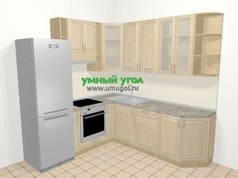 Угловая кухня из массива дерева в классическом стиле 6,7 м², 210 на 230 см, Светло-коричневые оттенки, верхние модули 92 см, встроенный духовой шкаф, холодильник