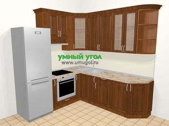 Угловая кухня из массива дерева в классическом стиле 6,7 м², 210 на 230 см, Темно-коричневые оттенки, верхние модули 92 см, встроенный духовой шкаф, холодильник
