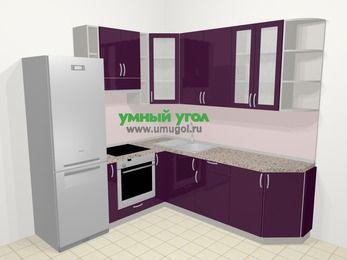 Угловая кухня МДФ глянец в современном стиле 6,7 м², 210 на 230 см, Баклажан, верхние модули 92 см, встроенный духовой шкаф, холодильник