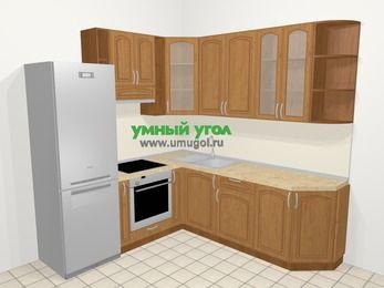 Угловая кухня МДФ патина в классическом стиле 6,7 м², 210 на 230 см, Ольха, верхние модули 92 см, встроенный духовой шкаф, холодильник