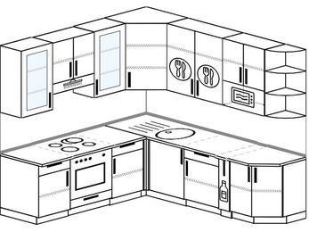 Угловая кухня 6,7 м² (2,1✕2,3 м), верхние модули 92 см, модуль под свч, встроенный духовой шкаф