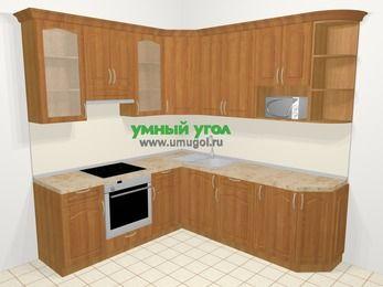 Угловая кухня МДФ матовый в классическом стиле 6,7 м², 210 на 230 см, Вишня, верхние модули 92 см, модуль под свч, встроенный духовой шкаф