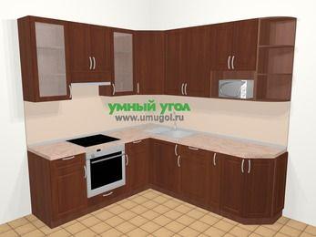 Угловая кухня МДФ матовый в классическом стиле 6,7 м², 210 на 230 см, Вишня темная, верхние модули 92 см, модуль под свч, встроенный духовой шкаф