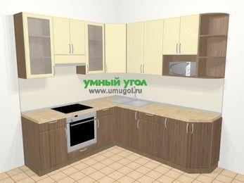 Угловая кухня МДФ матовый в современном стиле 6,7 м², 210 на 230 см, Ваниль / Лиственница бронзовая, верхние модули 92 см, модуль под свч, встроенный духовой шкаф