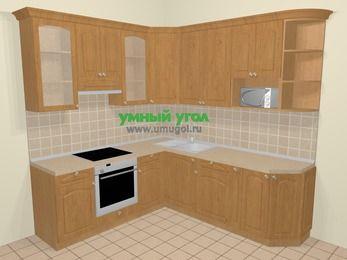 Угловая кухня МДФ матовый в стиле кантри 6,7 м², 210 на 230 см, Ольха, верхние модули 92 см, модуль под свч, встроенный духовой шкаф