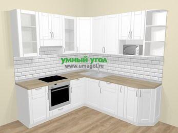 Угловая кухня МДФ матовый  в скандинавском стиле 6,7 м², 210 на 230 см, Белый, верхние модули 92 см, модуль под свч, встроенный духовой шкаф