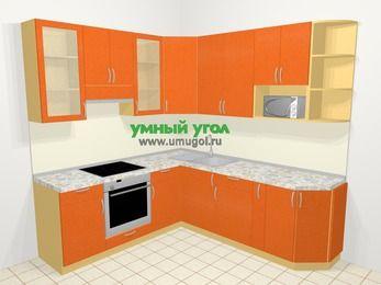 Угловая кухня МДФ металлик в современном стиле 6,7 м², 210 на 230 см, Оранжевый металлик, верхние модули 92 см, модуль под свч, встроенный духовой шкаф
