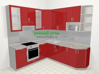 Угловая кухня МДФ глянец в современном стиле 6,7 м², 210 на 230 см, Красный, верхние модули 92 см, модуль под свч, встроенный духовой шкаф
