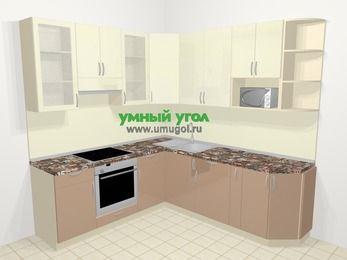 Угловая кухня МДФ глянец в современном стиле 6,7 м², 210 на 230 см, Жасмин / Капучино, верхние модули 92 см, модуль под свч, встроенный духовой шкаф