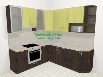 Кухни пластиковые угловые в современном стиле 6,7 м², 210 на 230 см, Желтый Галлион глянец / Дерево Мокка, верхние модули 92 см, модуль под свч, встроенный духовой шкаф