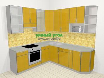 Кухни пластиковые угловые в современном стиле 6,7 м², 210 на 230 см, Желтый глянец, верхние модули 92 см, модуль под свч, встроенный духовой шкаф