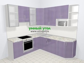 Кухни пластиковые угловые в современном стиле 6,7 м², 210 на 230 см, Сиреневый глянец, верхние модули 92 см, модуль под свч, встроенный духовой шкаф