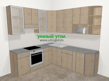 Кухни пластиковые угловые в стиле лофт 6,7 м², 210 на 230 см, Чибли бежевый, верхние модули 92 см, модуль под свч, встроенный духовой шкаф