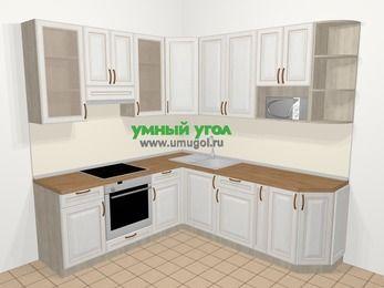 Угловая кухня МДФ патина в классическом стиле 6,7 м², 210 на 230 см, Лиственница белая, верхние модули 92 см, модуль под свч, встроенный духовой шкаф