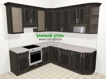 Угловая кухня МДФ патина в классическом стиле 6,7 м², 210 на 230 см, Венге, верхние модули 92 см, модуль под свч, встроенный духовой шкаф