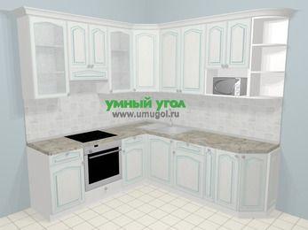 Угловая кухня МДФ патина в стиле прованс 6,7 м², 210 на 230 см, Лиственница белая, верхние модули 92 см, модуль под свч, встроенный духовой шкаф