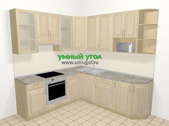 Угловая кухня из массива дерева в классическом стиле 6,7 м², 210 на 230 см, Светло-коричневые оттенки, верхние модули 92 см, модуль под свч, встроенный духовой шкаф