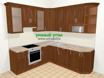 Угловая кухня из массива дерева в классическом стиле 6,7 м², 210 на 230 см, Темно-коричневые оттенки, верхние модули 92 см, модуль под свч, встроенный духовой шкаф
