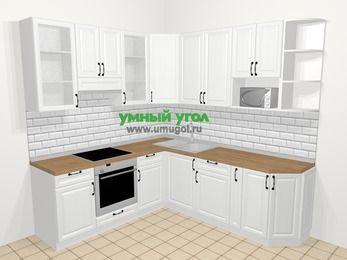Угловая кухня из массива дерева в скандинавском стиле 6,7 м², 210 на 230 см, Белые оттенки, верхние модули 92 см, модуль под свч, встроенный духовой шкаф