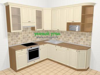 Угловая кухня из массива дерева в стиле кантри 6,7 м², 210 на 230 см, Бежевые оттенки, верхние модули 92 см, модуль под свч, встроенный духовой шкаф