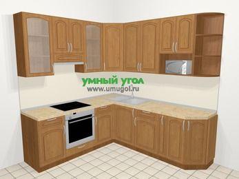 Угловая кухня МДФ патина в классическом стиле 6,7 м², 210 на 230 см, Ольха, верхние модули 92 см, модуль под свч, встроенный духовой шкаф
