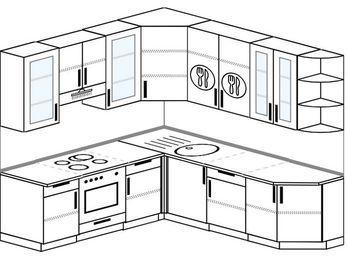 Угловая кухня 6,7 м² (2,1✕2,3 м), верхние модули 92 см, встроенный духовой шкаф