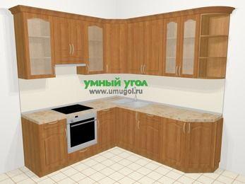 Угловая кухня МДФ матовый в классическом стиле 6,7 м², 210 на 230 см, Вишня, верхние модули 92 см, встроенный духовой шкаф