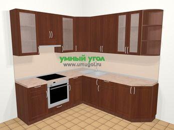 Угловая кухня МДФ матовый в классическом стиле 6,7 м², 210 на 230 см, Вишня темная, верхние модули 92 см, встроенный духовой шкаф