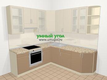 Угловая кухня МДФ матовый в современном стиле 6,7 м², 210 на 230 см, Керамик / Кофе, верхние модули 92 см, встроенный духовой шкаф