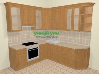 Угловая кухня МДФ матовый в стиле кантри 6,7 м², 210 на 230 см, Ольха, верхние модули 92 см, встроенный духовой шкаф