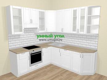 Угловая кухня МДФ матовый  в скандинавском стиле 6,7 м², 210 на 230 см, Белый, верхние модули 92 см, встроенный духовой шкаф