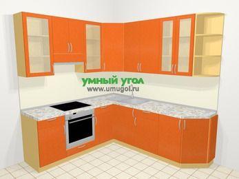 Угловая кухня МДФ металлик в современном стиле 6,7 м², 210 на 230 см, Оранжевый металлик, верхние модули 92 см, встроенный духовой шкаф