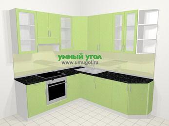 Угловая кухня МДФ металлик в современном стиле 6,7 м², 210 на 230 см, Салатовый металлик, верхние модули 92 см, встроенный духовой шкаф