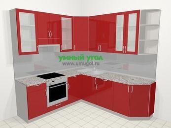 Угловая кухня МДФ глянец в современном стиле 6,7 м², 210 на 230 см, Красный, верхние модули 92 см, встроенный духовой шкаф