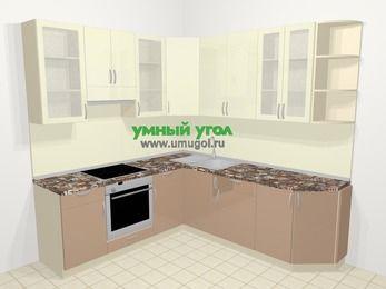Угловая кухня МДФ глянец в современном стиле 6,7 м², 210 на 230 см, Жасмин / Капучино, верхние модули 92 см, встроенный духовой шкаф