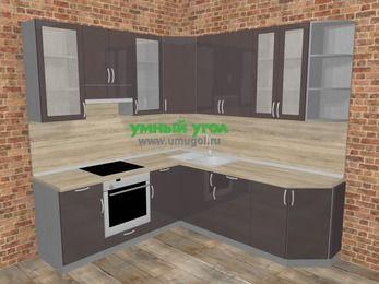 Угловая кухня МДФ глянец в стиле лофт 6,7 м², 210 на 230 см, Шоколад, верхние модули 92 см, встроенный духовой шкаф